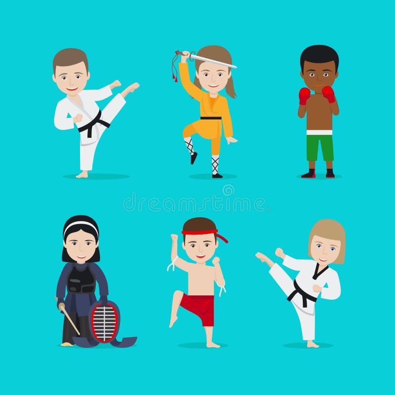 Badine des icônes de vecteur d'arts martiaux illustration stock