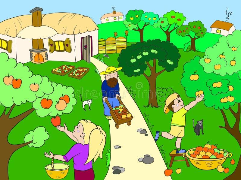 Badine la bande dessinée sur le thème du vecteur de récolte illustration stock