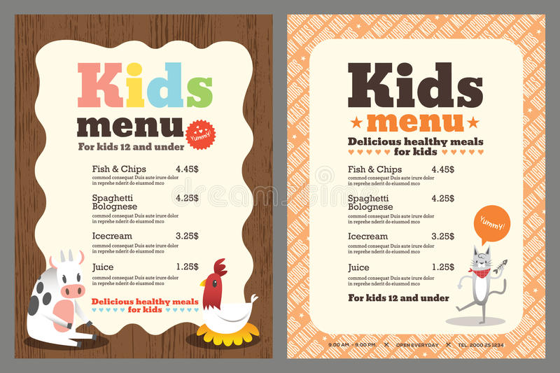Badine le calibre de vecteur de menu illustration stock