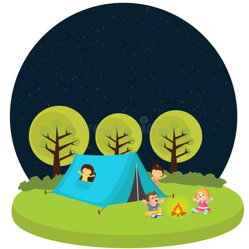 Badine le camp extérieur du feu d'activité d'amusement de tente de camping d'enfants illustration stock