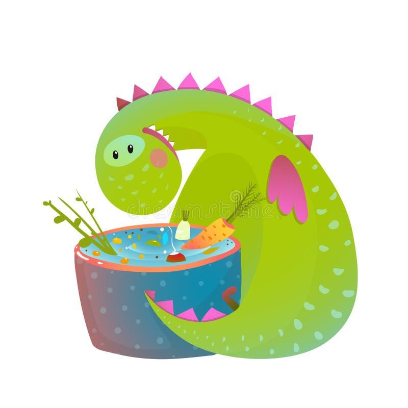 Badine le dragon végétarien de bébé mangeant faisant cuire la bande dessinée mignonne d'amusement illustration stock