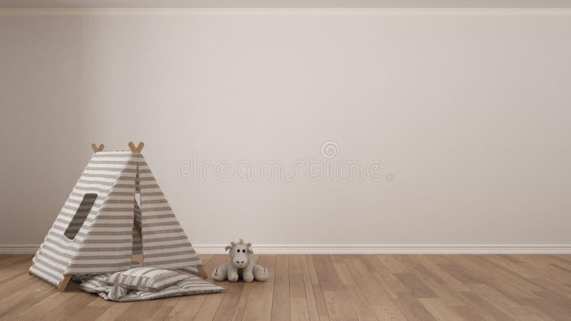 Badine le fond blanc minimaliste avec la tente d'enfant, oreiller couvrant photos stock
