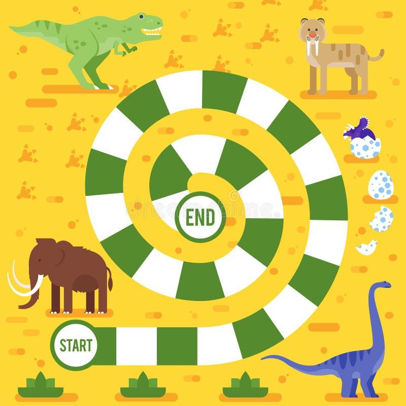 Badine le jeu de société avec le calibre de dinosaures illustration de vecteur