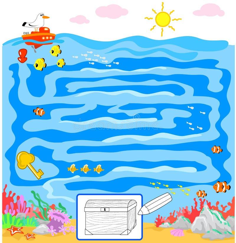Badine le jeu : labyrinthe de mer illustration stock