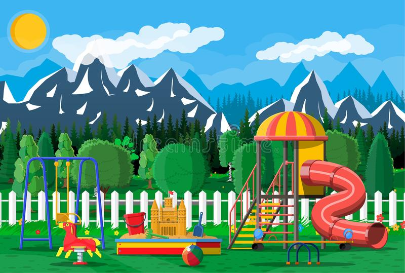 Badine le panorama de jardin d'enfants de terrain de jeu illustration libre de droits