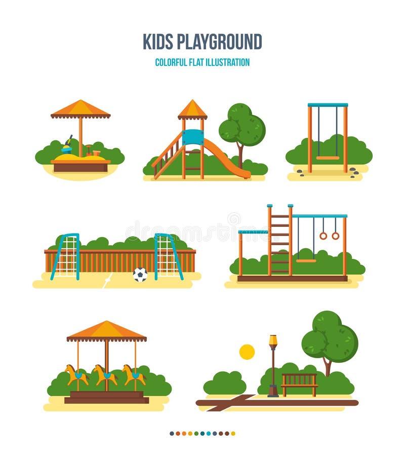 Badine le terrain de jeu : bac à sable, glissière, oscillation, terrain de football, escaliers, carrousel, parc illustration libre de droits