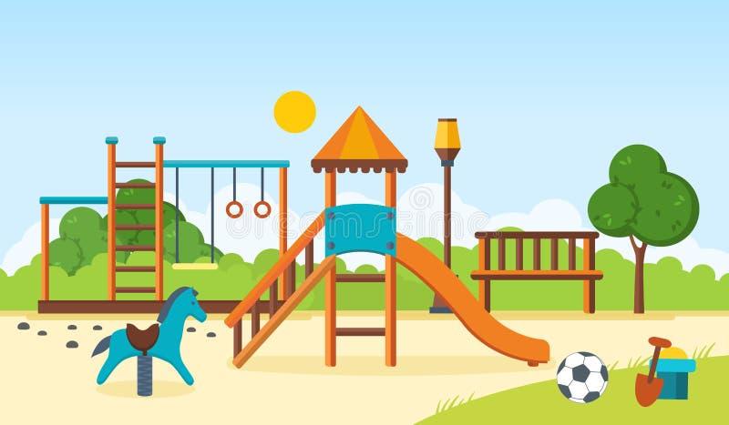 Badine le terrain de jeu, barres horizontales, oscillations, parc de marche, jouets du ` s d'enfants illustration libre de droits