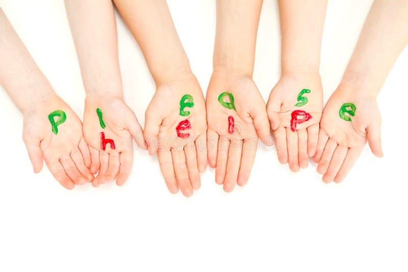Badine les mains qui prient aident s'il vous plaît photographie stock libre de droits