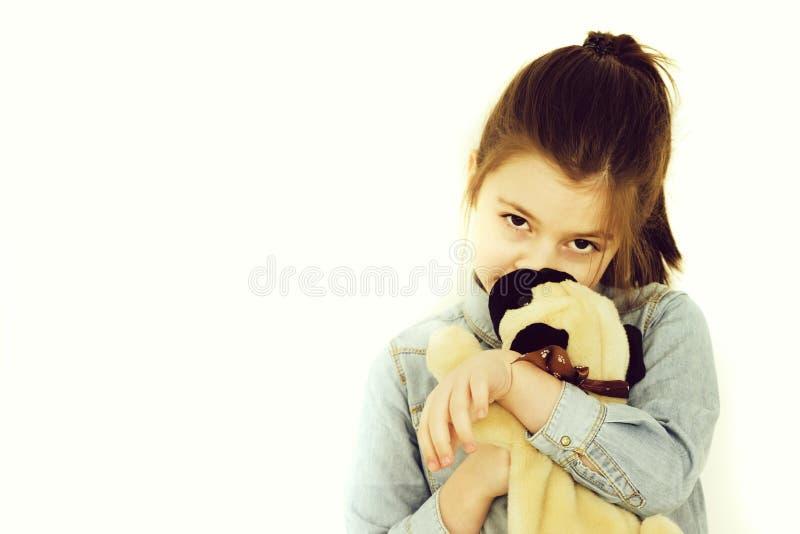 Badinez, fille adorable caressant le chien de jouet mignon images stock