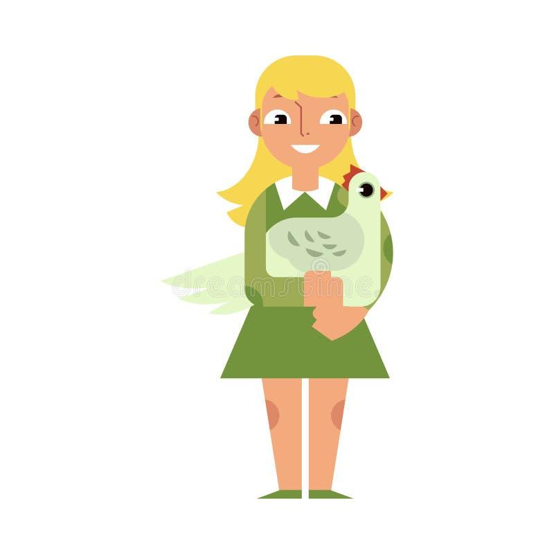 Badinez la fille étreignant le poulet avec amour - personnage de dessin animé plat de poule domestique d'embrassement caucasien d illustration libre de droits