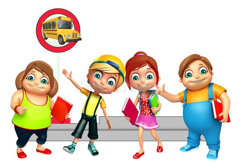 Badinez le garçon de fille et d'enfant avec l'autobus scolaire de attente illustration stock