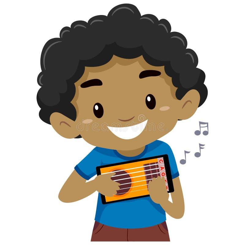 Badinez le garçon tenant et jouant une application mobile de guitare illustration de vecteur