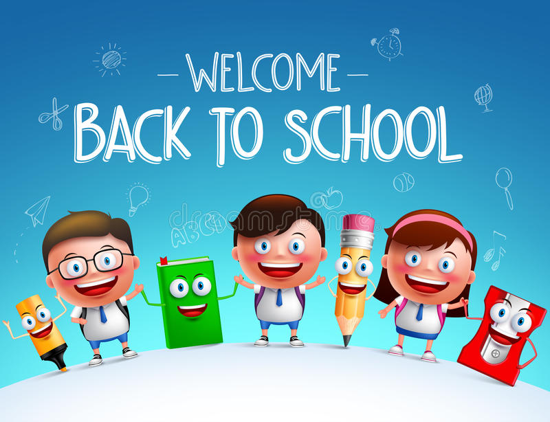 Badinez les caractères de vecteur d'étudiants et la mascotte drôle d'articles d'école illustration libre de droits