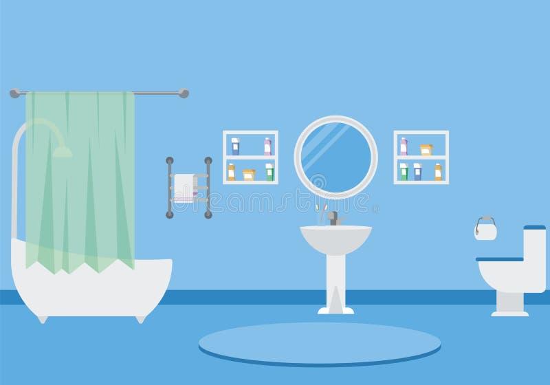 Badkamers binnenlandse vectorillustratie stock foto's