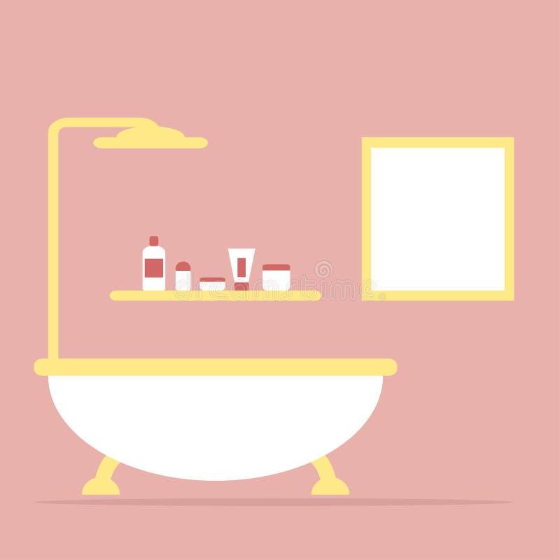 Badkamers Het binnenland van de badkamers Geïsoleerd meubilair vector illustratie