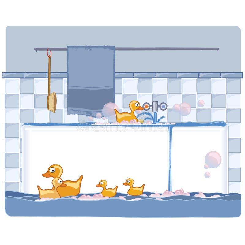 Badkamers met eenden stock illustratie
