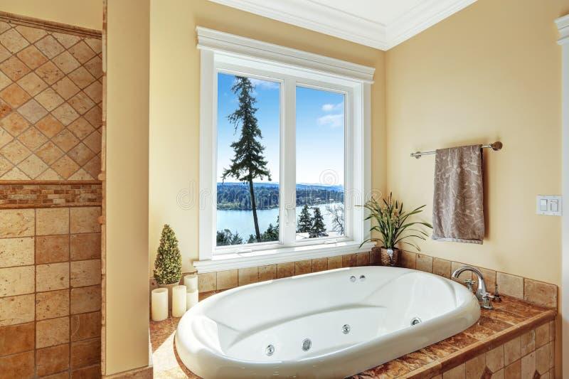 Badkamers met massagebadton en mooie mening stock foto