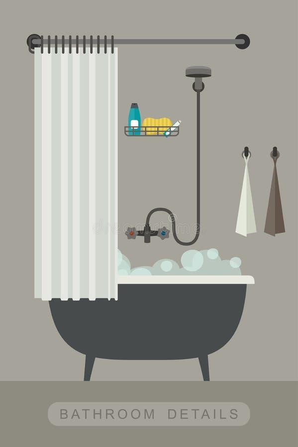 Badkamersbinnenland met bad stock illustratie