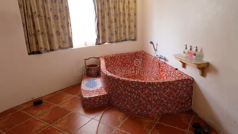 Badkamersbinnenland in Uitstekende Badkuip Ceramisch met Douchehuis stock foto