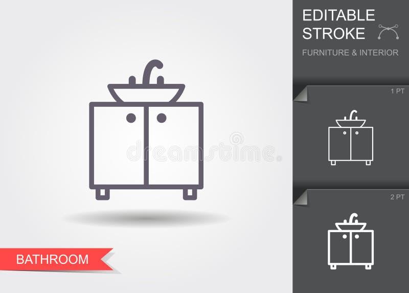 Badkamersgootsteen Lijnpictogram met editable slag met schaduw stock illustratie