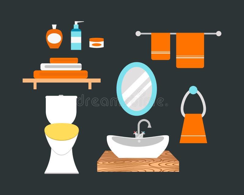 Badkamerspictogrammen gekleurde reeks met van de besparingensymbolen van het proceswater de hygiëneinzameling en het schone huish royalty-vrije illustratie