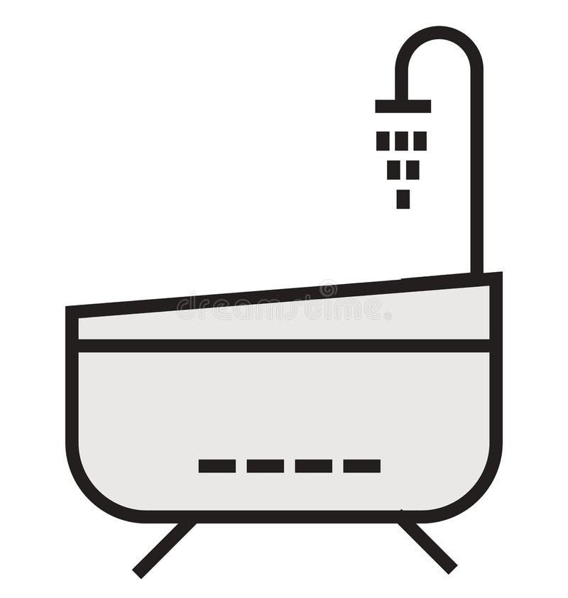 Badkaröversikt och fylld isolerad symbol som kan lätt redigeras eller ändras vektor illustrationer