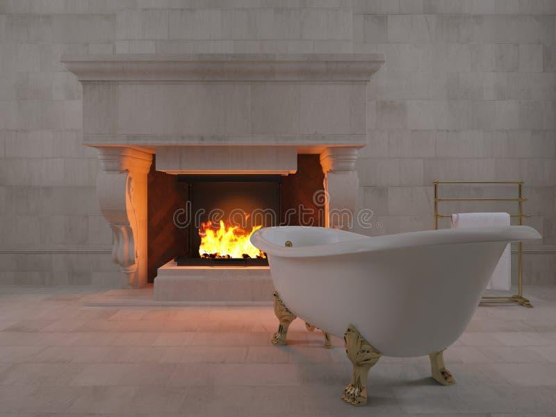 badkar för tolkning 3d nära spisen royaltyfri illustrationer