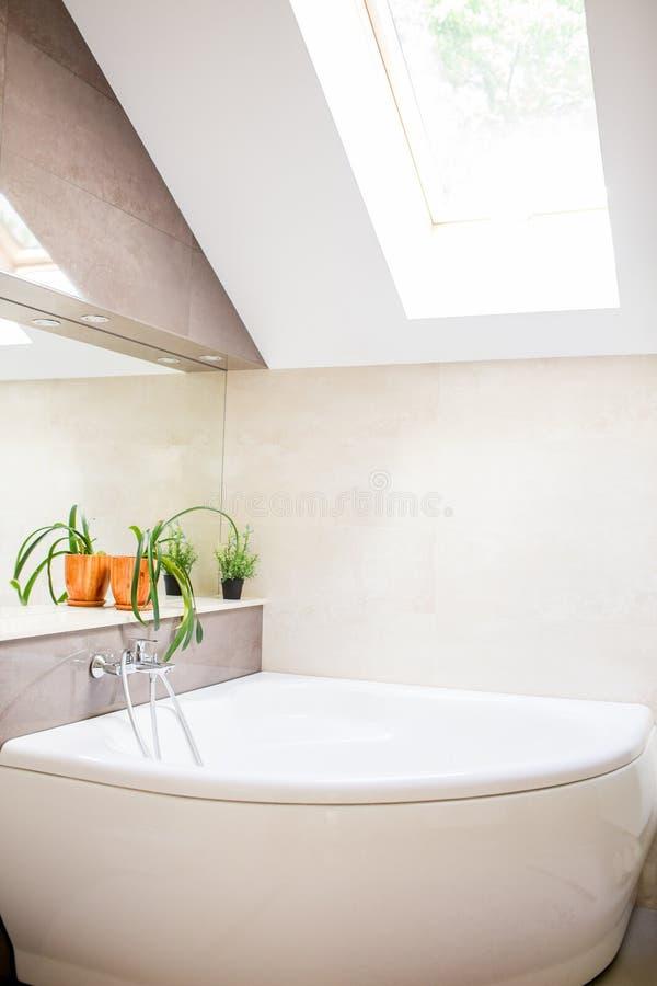 Badkar i ledar- badrum i nytt lyxhem royaltyfri foto