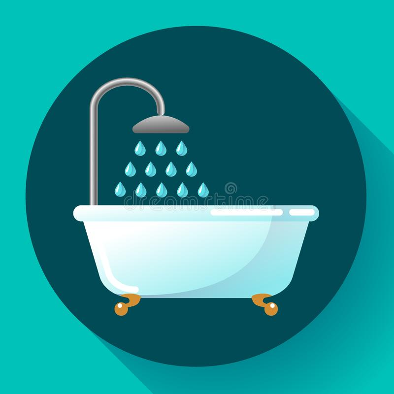 Badkar med den plana symbolsvektorn för dusch Vattenbehandlingar, tar ett bad eller kopplar av i badkarvektorillustrationen vektor illustrationer