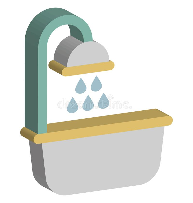 Badkaret isolerade den isometriska vektorsymbolen som kan lätt ändra eller redigera badkaret isolerade isometriska vektorsymbolen vektor illustrationer