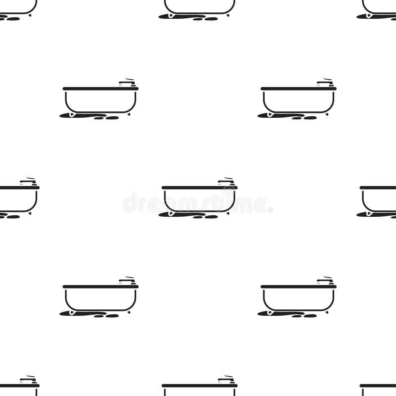 Badkarsymbol i svart stil som isoleras på vit bakgrund Illustration för vektor för rörmokerimodellmateriel stock illustrationer