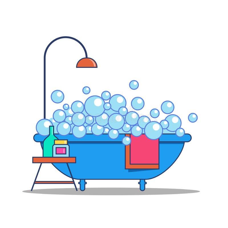 Badkuip met zeepzeepsop, douche en badkamerstoebehoren vector illustratie