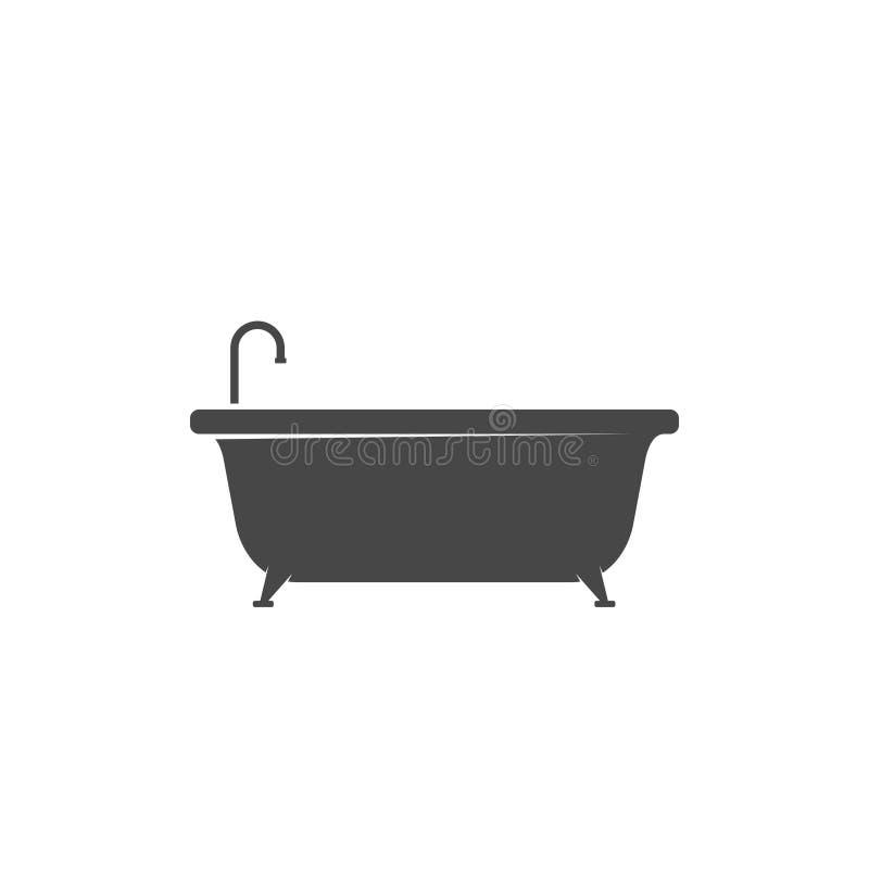 Badkuippictogram op witte achtergrond wordt geïsoleerd die De tijd van het bad stock illustratie