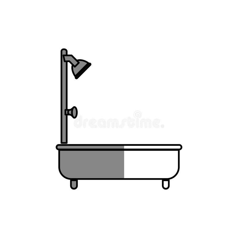 badkuipsilhouet geïsoleerd pictogram vector illustratie