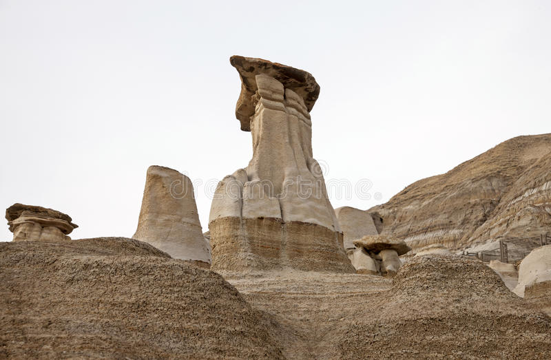 Badlands Alberta hoo doo. Badlands Alberta Drumheller and Dinasaur Park Canada royalty free stock image