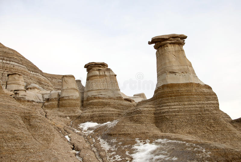 Badlands Alberta hoo doo. Badlands Alberta Drumheller and Dinasaur Park Canada stock photos