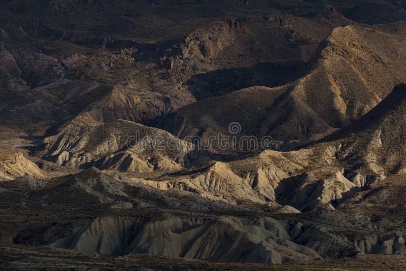Badlands in the desert of Tabernas. Almeria, Andalucia, Spain stock photography