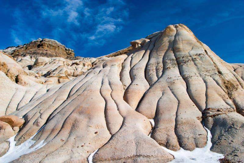 Badlands dichtbij Drumheller, Alberta zijn beroemd voor rijke deposi royalty-vrije stock foto's