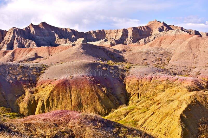 Badlands eroderade Buttes arkivfoto