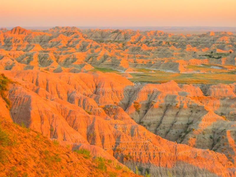 Badlands NP en la puesta del sol imagen de archivo libre de regalías