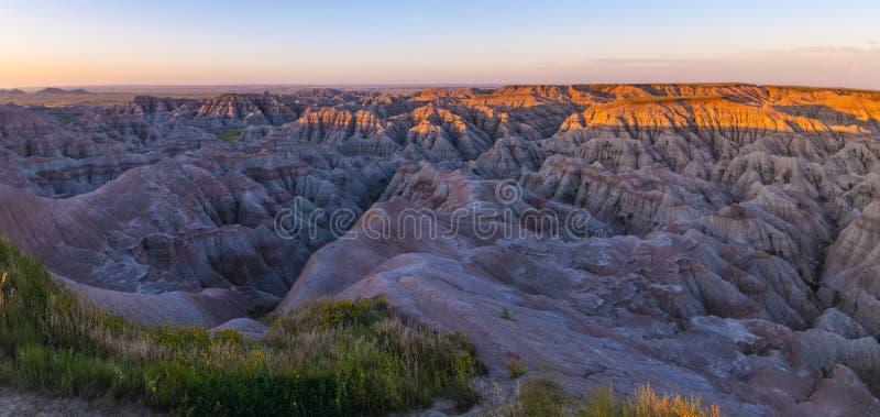 Badlands Południowy Dakota przy wschodem słońca obraz stock