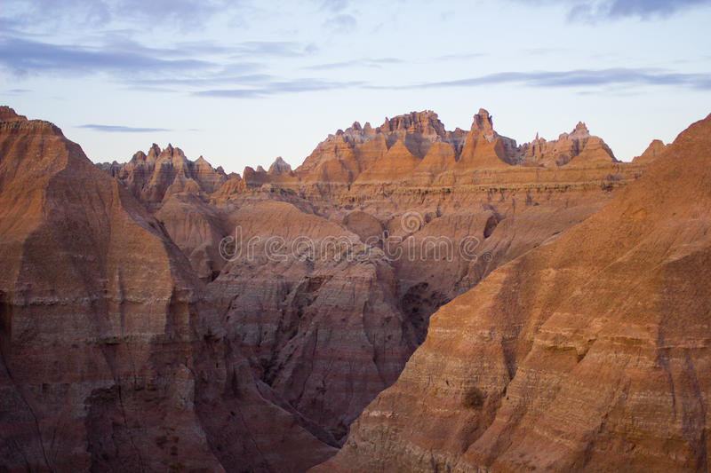 Badlands of South Dakota at Evening stock image