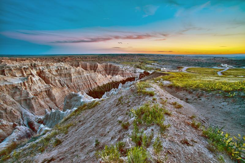Badlands Sunset HDR royalty free stock image