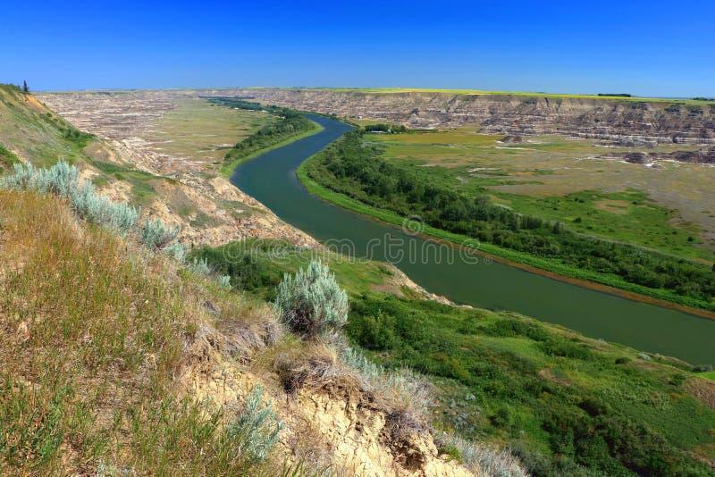 Badlands wzd?u? Czerwonych rogaczy rzeki od Orkney punkt widzenia blisko Drumheller, Alberta obraz stock
