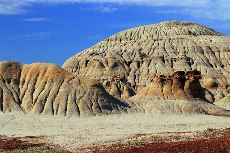 Badlandserosionlandskapet i den provinsiella dinosaurien parkerar, Alberta royaltyfri fotografi