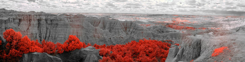 Badlandsnationalpark som ?r infrar?d South Dakota royaltyfri foto