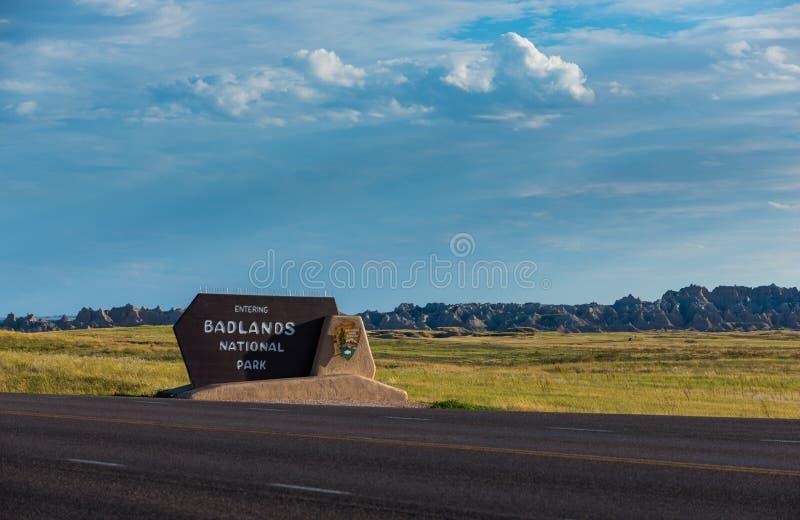 Badlandsnationalparktecken royaltyfri fotografi