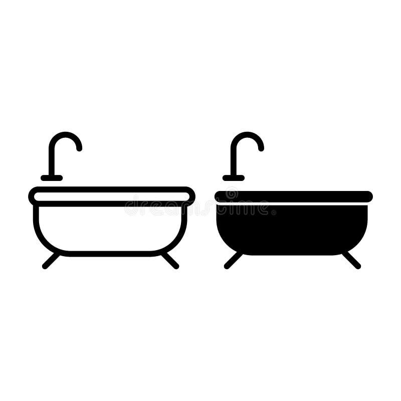 Badlinje och skårasymbol Badkarvektorillustration som isoleras på vit Design för badrumöversiktsstil som planläggs för rengörings vektor illustrationer