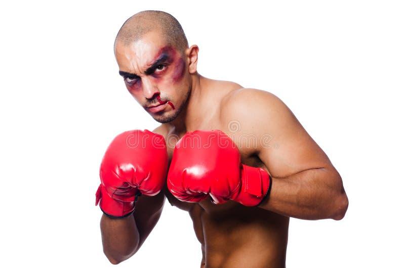 Badly Beaten Boxer Stock Photography