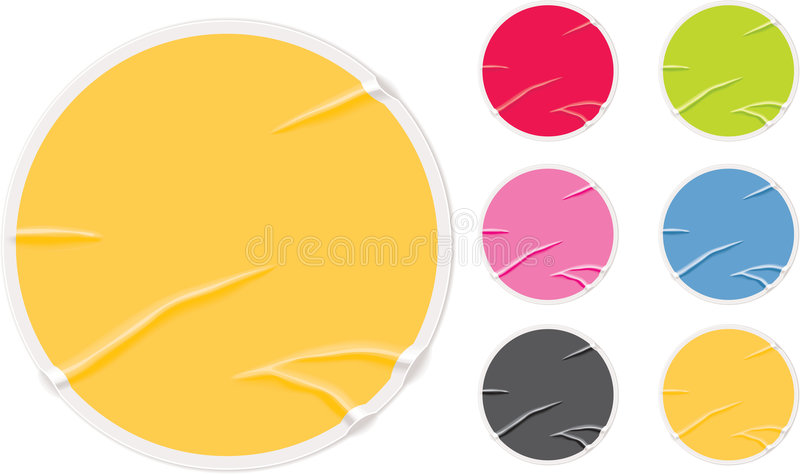 Badly glued old blank stickers stock illustration